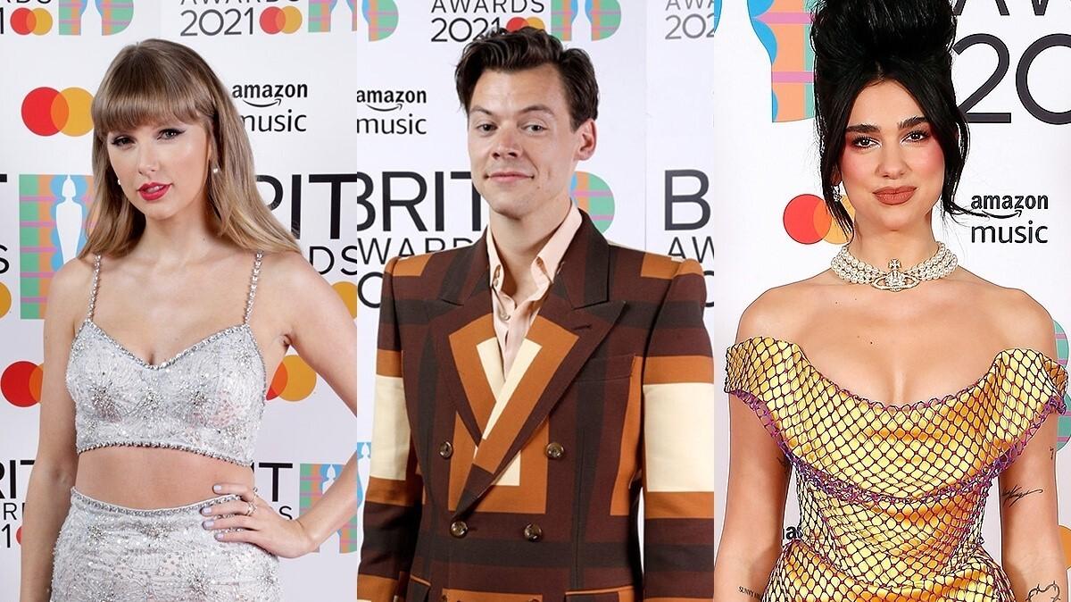 Тейлор Свифт, Гарри Стайлс и Дуа Липа на красной дорожке BRIT Awards 2021