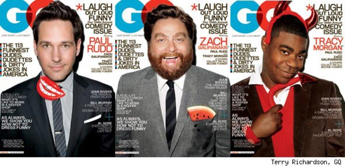 Трейси Морган, Пол Радд и Зак Галифинакис в журнале GQ. Август 2010