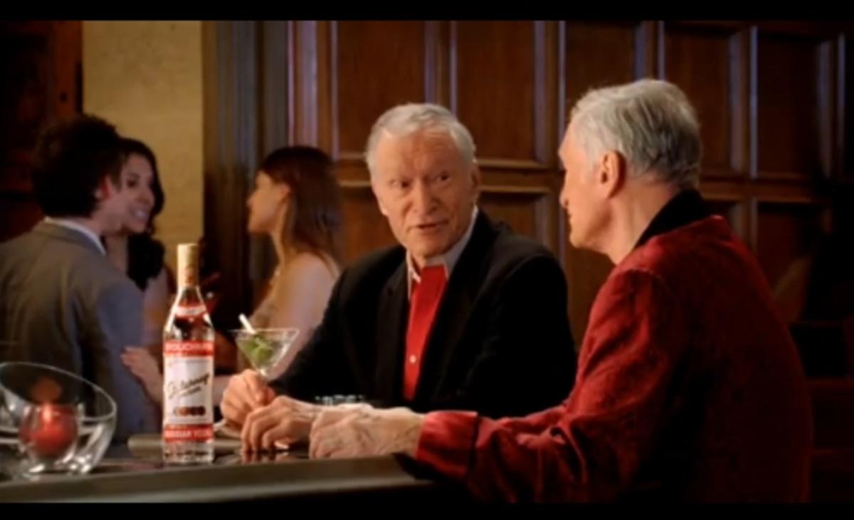 Хью Хефнер в рекламе водки Столичная