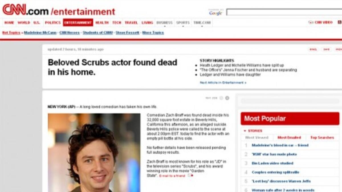 Зак Брафф с удивлением узнал о своей смерти