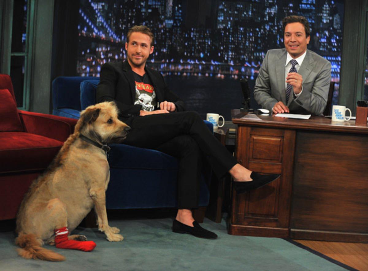 Райан Гослинг и его собака на шоу Джимми Фэллона