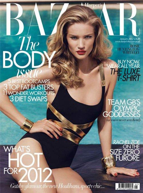 Роузи Хантингтон-Уайтли в журнале Harper's Bazaar Великобритания. Январь 2012