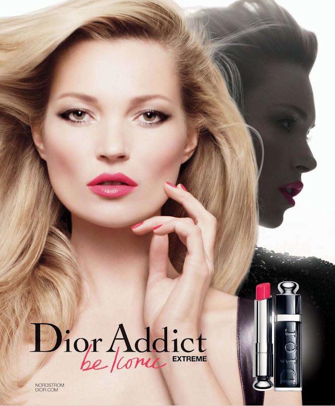 Кейт Мосс в рекламной кампании губных помад  Dior Addict Extreme