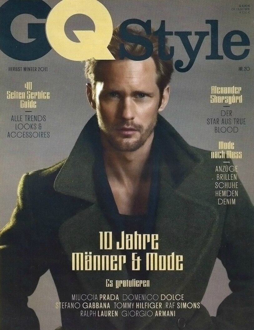 Александр Скарсгард на обложке журнала GQ Style. Германия и в журнале InStyle. Сентябрь 2011