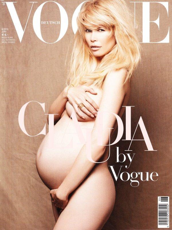 Клаудия Шиффер беременная и обнаженная на обложке Vogue