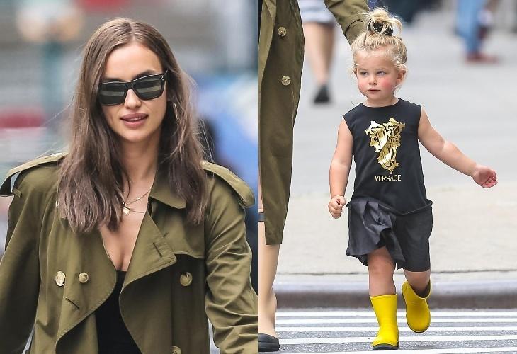 В Versace с первых лет: Ирина Шейк с дочкой Леей на прогулке в Нью-Йорке