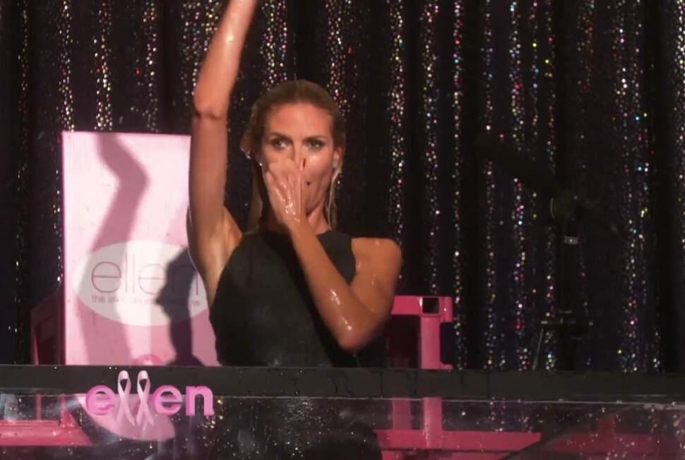 Хайди Клум прыгнула в бак с водой на шоу Эллен ДеДженерес