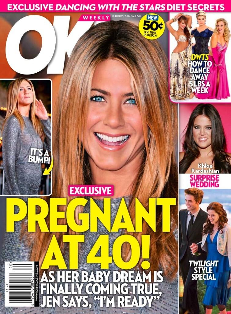 Журнал OK! настойчиво хочет беременности Дженнифер Энистон