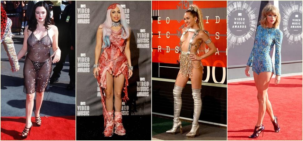 От «мясного» платья Леди Гаги до «голой» Роуз МакГоуэн: топ 10 самых запоминающихся нарядов церемонии MTV VMA