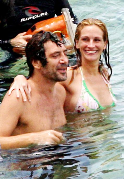 Джулия Робертс и Хавьер Бардем на съемках фильма «Есть, молиться, любить»