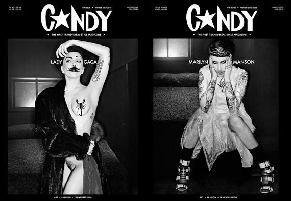 Lady GaGa и Мэрилин Мэнсон на обложке журнала Candy. Зима 2013-2014