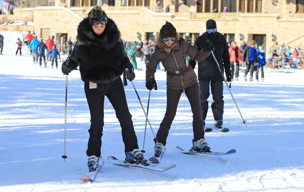 Канье Уэст и Ким Кардашян на горнолыжном курорте в Юте