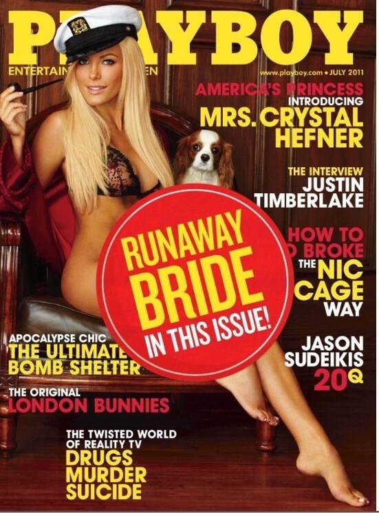 На обложке нового номера Playboy появилась наклейка «Сбежавшая невеста»
