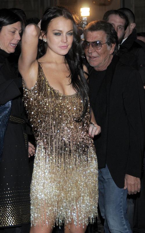 Линдсей Лохан на показе Vogue в Милане. 26 февраля