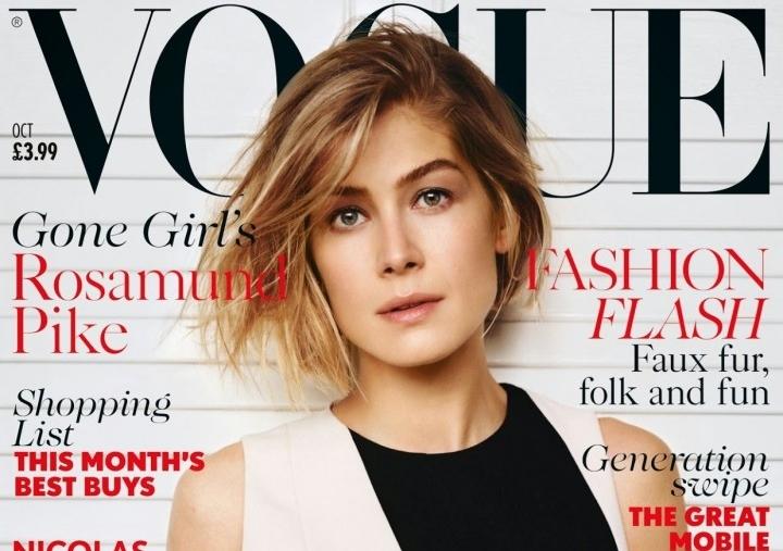 Розамунд Пайк в журналах Glamour.США и Vogue. Великобритания. Октябрь 2014