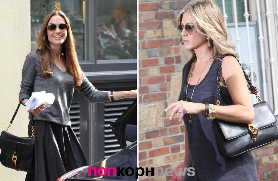 Анджелина Джоли и Дженнифер Энистон: одинаковый вкус в мужчинах  и в сумочках