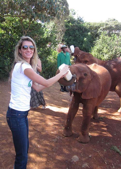 Жизель Бундхен покормила слонов