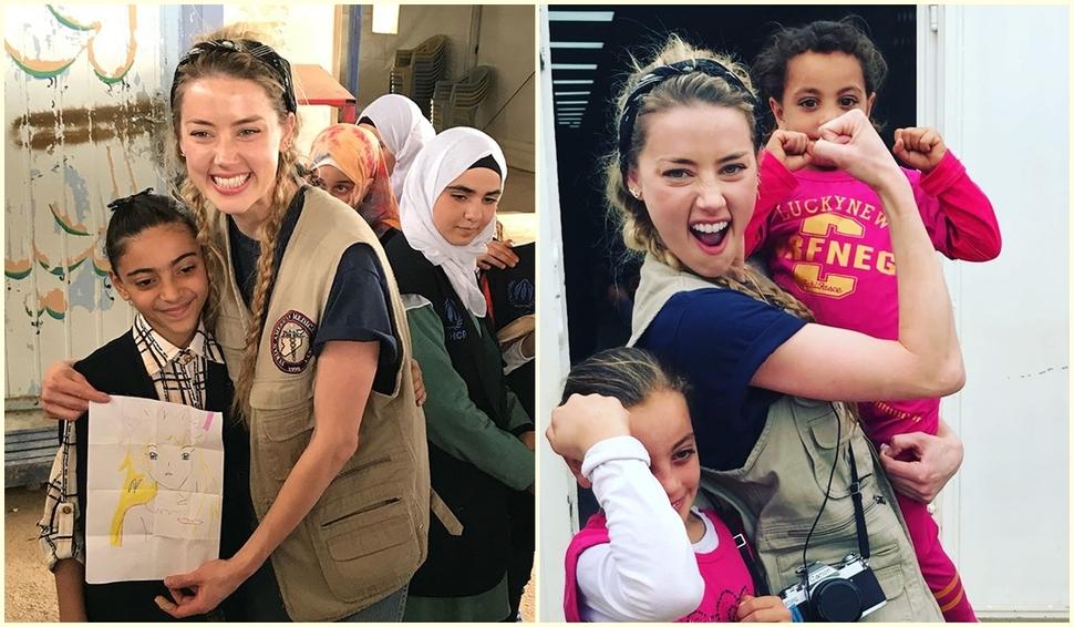 Эмбер Херд навестила сирийских беженцев