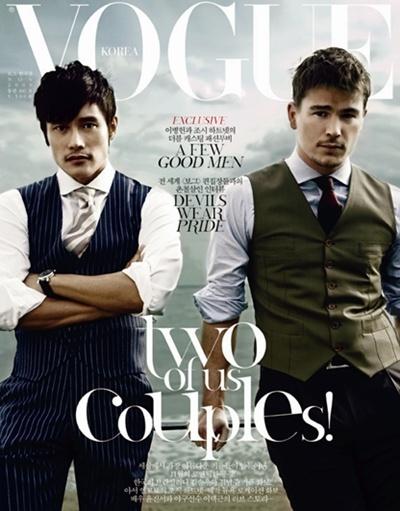 Джош Хартнетт и Бён Хон Ли в журнале Vogue