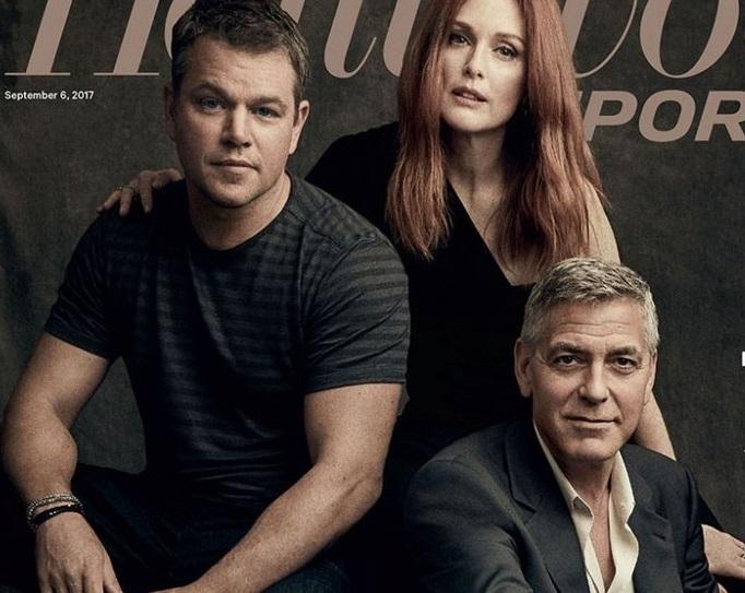 Джордж Клуни, Мэтт Дэймон и Джулианна Мур в фотосете для THR