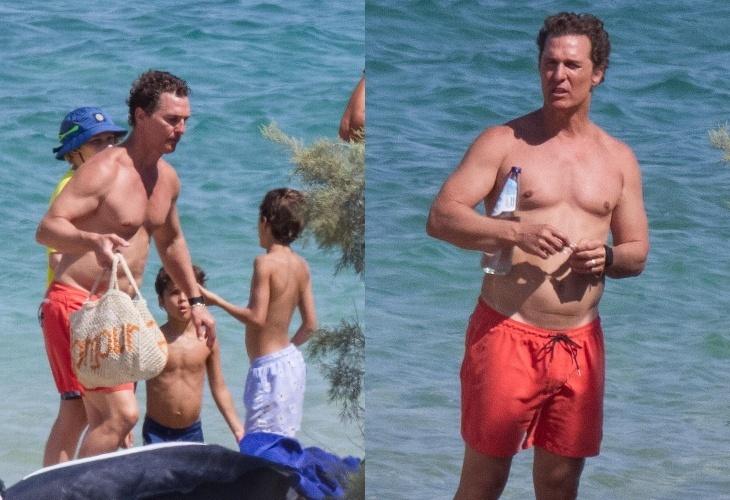 Больше не супер: растолстевший Мэттью Макконахи на пляже в Греции
