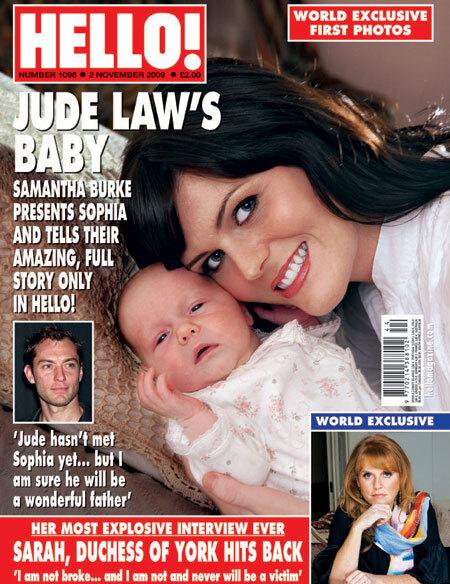 Первое фото новорожденной дочки Джуда Лоу в журнале Hello!