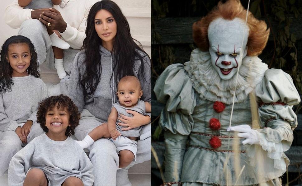 Пеннивайз бы гордился: дети Ким Кардашьян разукрасили себя в клоуна из «Оно»