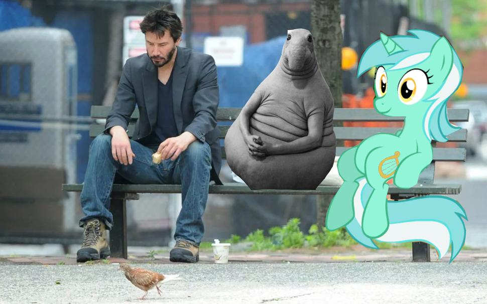 Как в грустном меме: в Сети обсуждают Киану Ривза с мороженым на скамейке