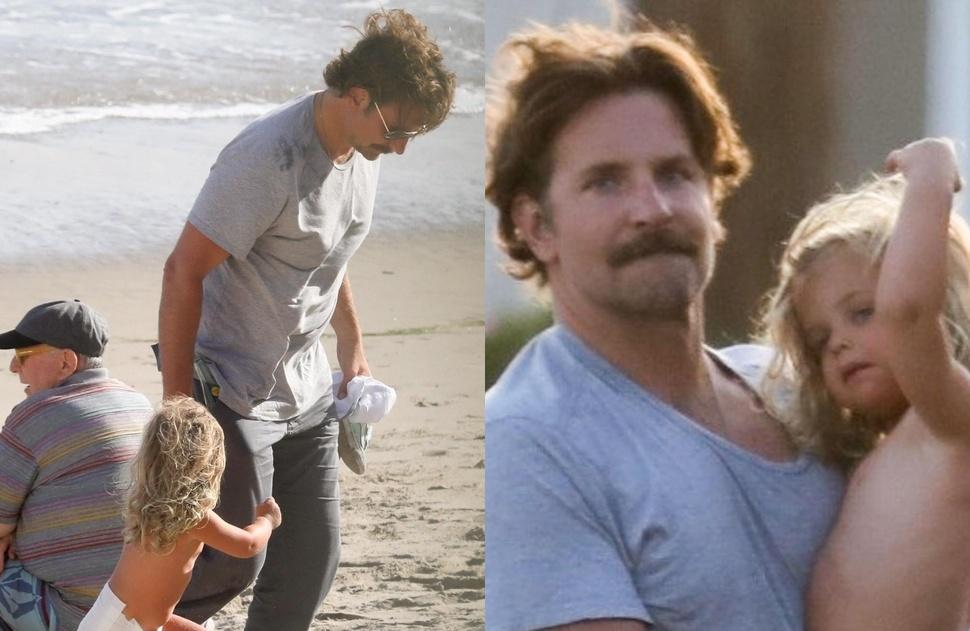 «У разбитого корыта»: подурневший Брэдли Купер с дочкой Леей на пляже в Малибу (фото)