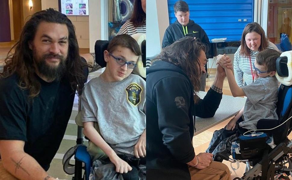 Джейсон Момоа навестил детей в больнице и устроил армрестлинг за трезубец Аквамена