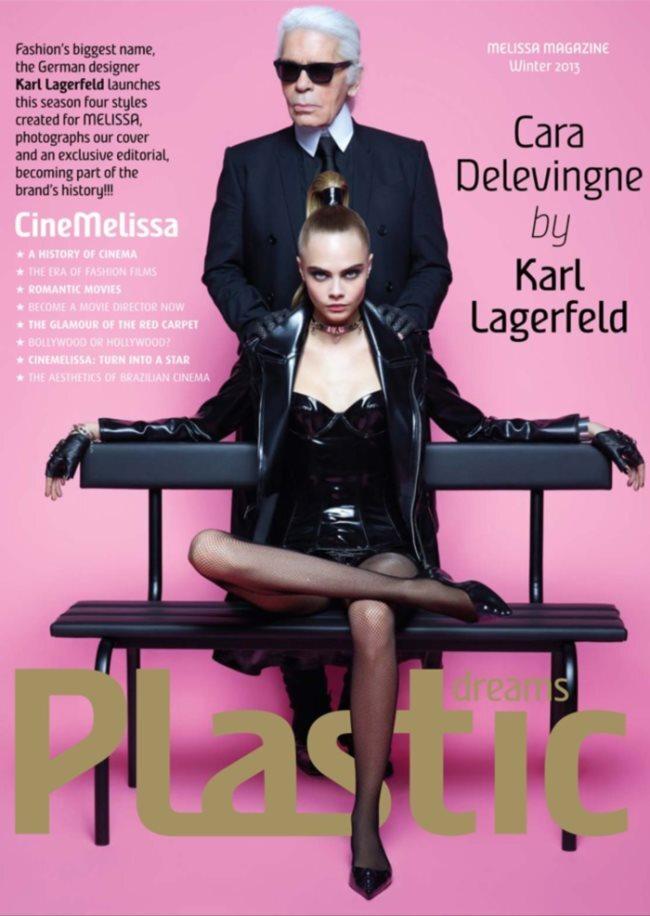 Кара Делевинь в рекламе обуви Карла Лагерфельда для марки Melissa Shoes