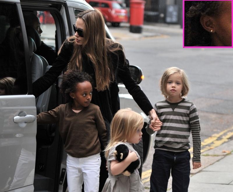 Анджелины Джоли отвела Захару и Шайло в салон проколоть уши