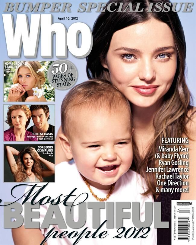 Миранда Керр с сыном на обложке журнала Who. Апрель 2012