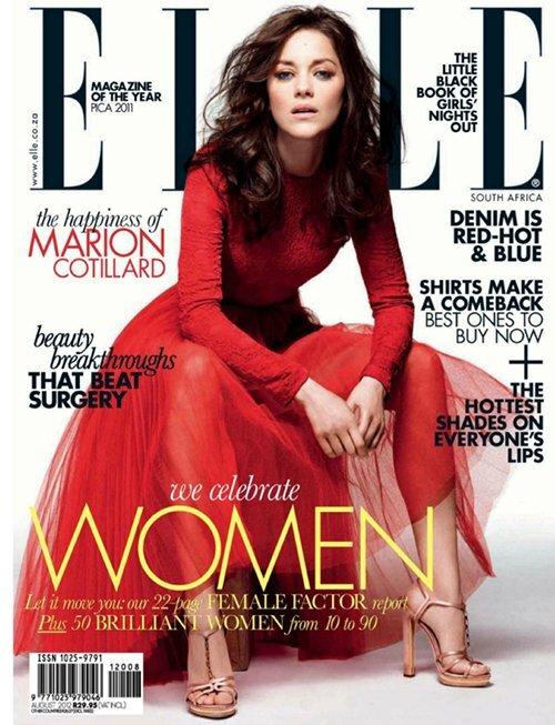 Марион Котийяр в журнале Elle. Август 2012