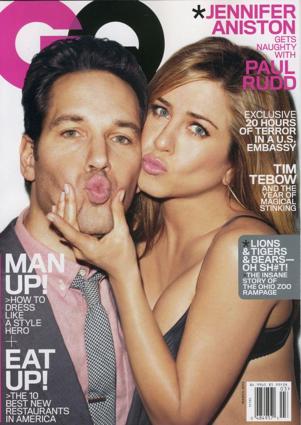 Дженнифер Энистон и Пол Радд в журнале GQ. Март 2012