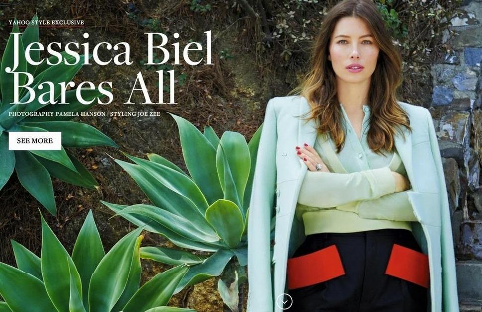 Джессика Бил в интернет-журнале Yahoo Style. Сентябрь 2014