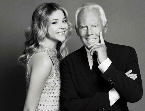 Хлоя Морец и Джорджо Армани в журнале Elle. Октябрь 2014