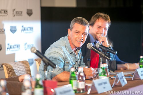 Антонио Бандерас на пресс-конференции мультфильма «Джастин и рыцари доблести» в Москве