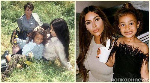 Фото: Ким Кардашьян снялась в рекламе Fendi вместе с 5-летней дочерью