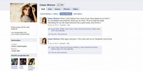 Эмма Уотсон присоединилась к Facebook