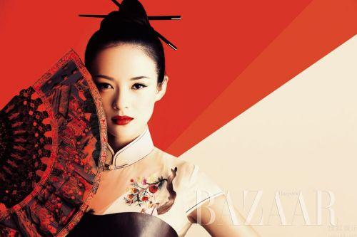 Чжан Цзыи в журнале Harpers Bazaar. China. Октябрь 2009