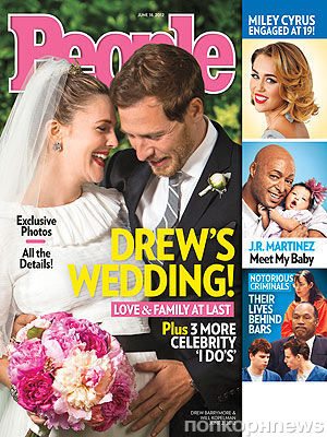 Беременная Дрю Бэрримор в свадебном платье на обложке журнала People