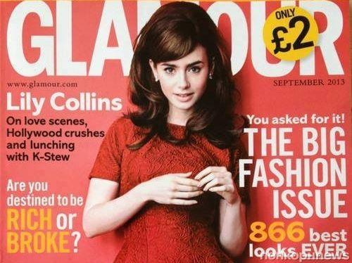 Лили Коллинз в журнале Glamour Великобритания. Сентябрь 2013