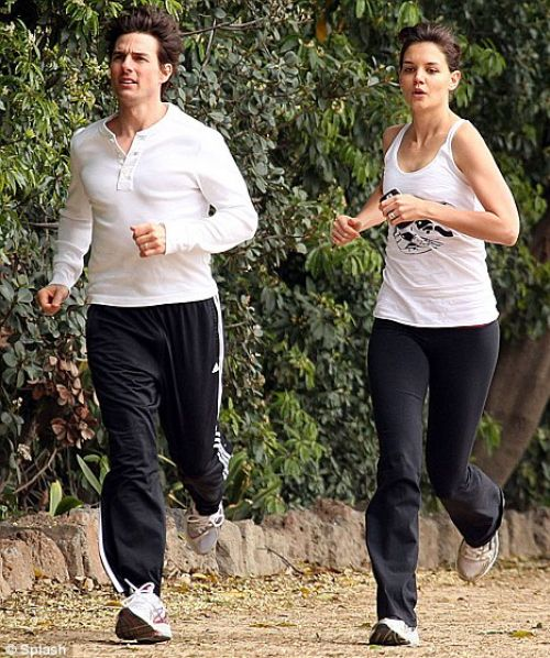 Том Круз и Кэти Холмс на пробежке