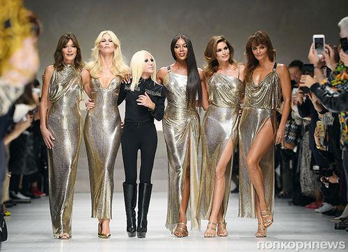 Клаудия Шиффер, Синди Кроуфорд, Хелена Кристенсен и другие легенды подиума поучаствовали в показе Versace
