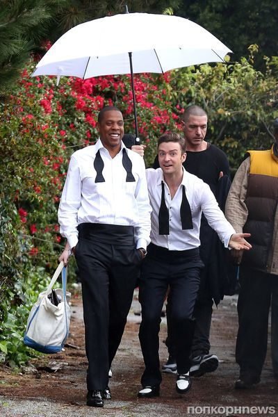 Джастин Тимберлейк и Jay-Z на съемках клипа Suit & Tie