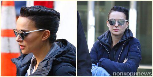 Почти неузнаваема: Натали Портман с ультракороткими волосами на съемках фильма в Нью-Йорке