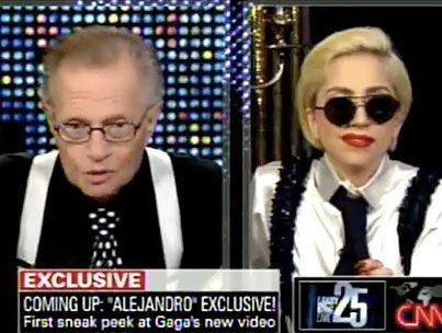 Видео: Lady GaGa в гостях у Ларри Кинга или наоборот?
