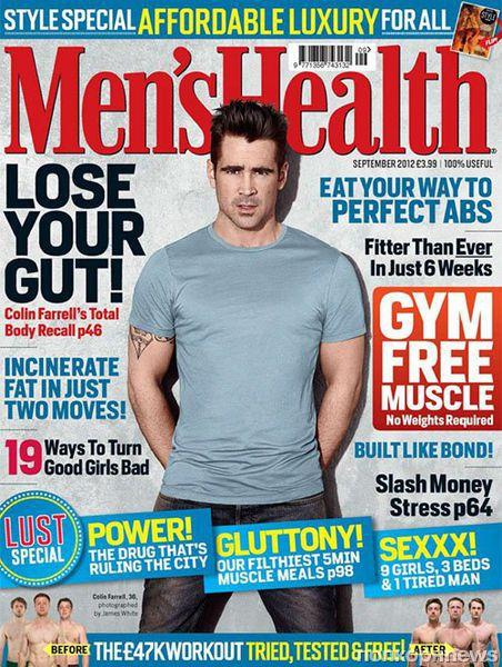 Колин Фаррелл в журнале Men's Health Великобритания. Сентябрь 2012