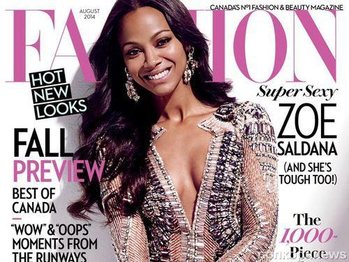 Зои Салдана в журнале Fashion. Август 2014